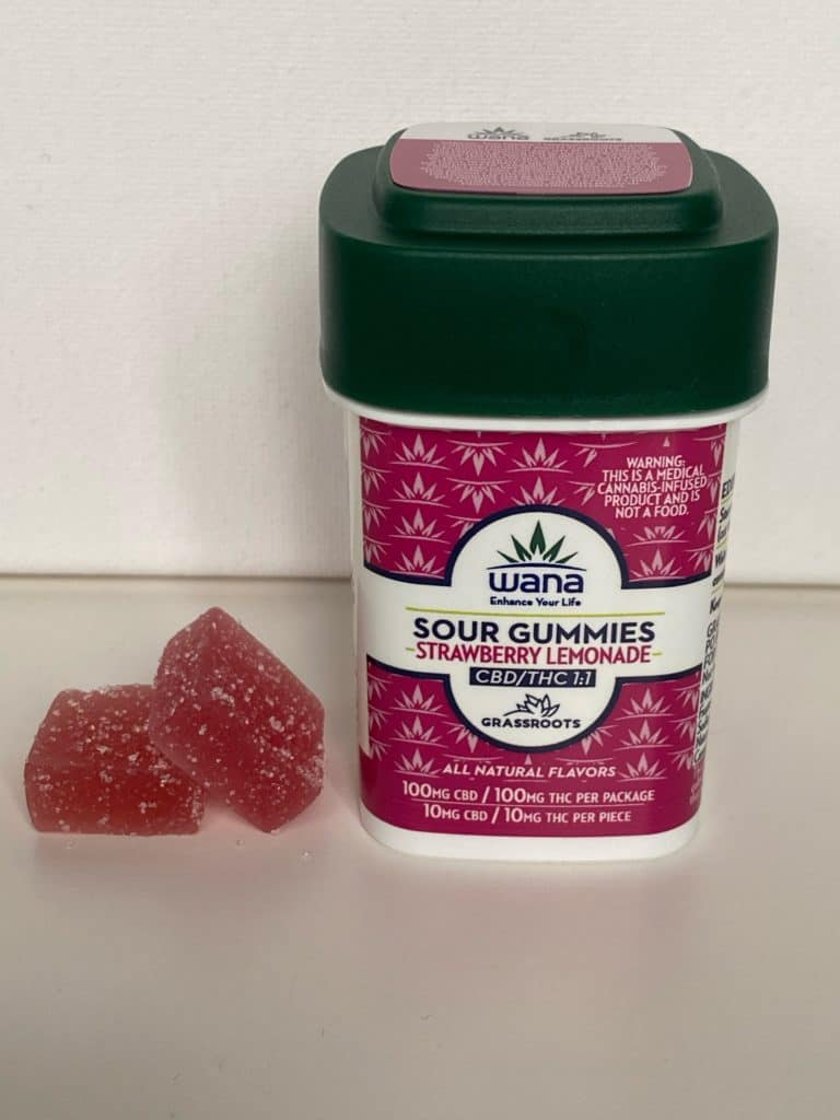 Wana Strawberry Lemonade 1:1 CBD/THC Sour Gummies