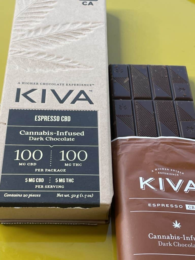 Kiva Confections Espresso Dark Chocolate CBD 1:1 Bar